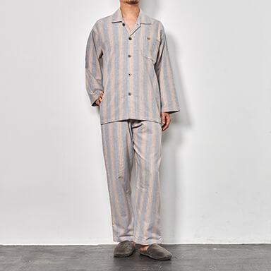 【メンズ】冬物 綿100%ネル素材ストライプ柄パジャマ (長袖・長ズボン)