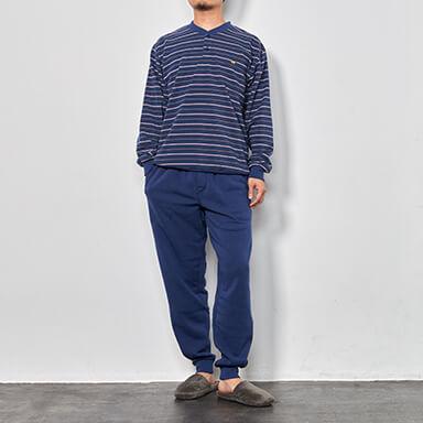 【メンズ】冬物 綿混裏シャギーボーダー柄パジャマ(長袖・長ズボン)