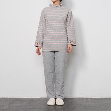 【レディース】【冬物】綿混裏起毛ボーダーパジャマ(長袖・長ズボン)