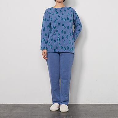 【レディース】【冬物】綿混裏起毛プリントパジャマ(長袖・長ズボン)