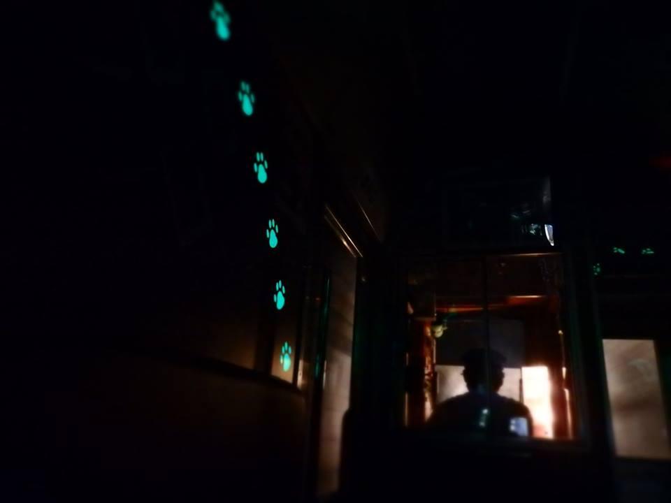 お座トロ展望列車のトンネルシアター