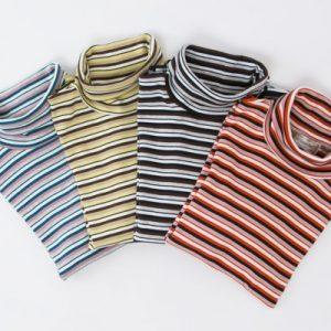 オーガニックコットンボーダーハイネックTシャツ