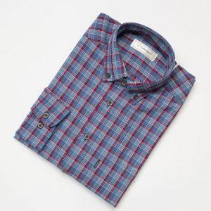 テンセル混チェックシャツ