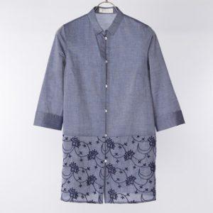 刺繍使い7分袖シャツチュニック